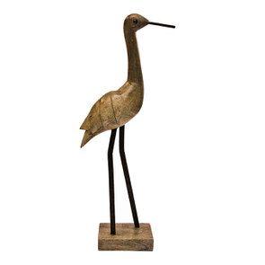 Statue oiseau en bois sur socle
