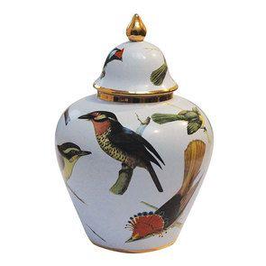 Pot d'officine en porcelaine à motif oiseaux