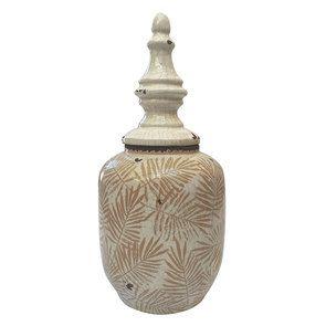 Pot décoratif avec couvercle motif feuilles