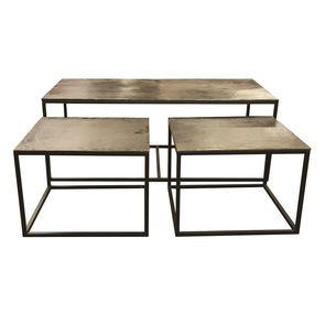 Set de 3 tables gigognes rectangulaires et carrées - Factory