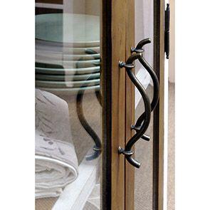 Vitrine blanche 2 portes en épicéa massif - Provence - Visuel n°5
