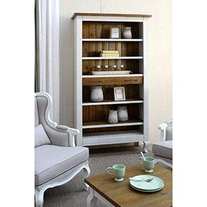 Étagère tiroir de bibliothèque en épicéa massif blanc - Provence