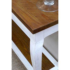 Console blanche 1 tiroir en épicéa massif - Provence - Visuel n°3