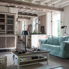 Table basse rectangulaire 2 tiroirs en épicéa massif blanc vieilli - Provence - Visuel n°3