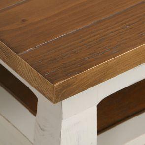 Table basse rectangulaire 2 tiroirs en épicéa massif blanc vieilli - Provence - Visuel n°12