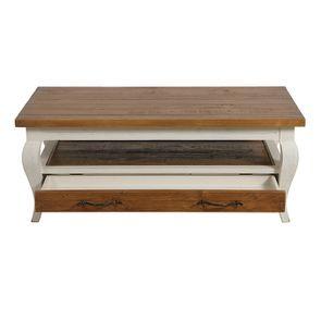 Table basse rectangulaire 2 tiroirs en épicéa massif blanc vieilli - Provence - Visuel n°4
