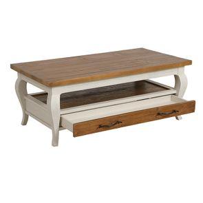 Table basse rectangulaire 2 tiroirs en épicéa massif blanc vieilli - Provence - Visuel n°5