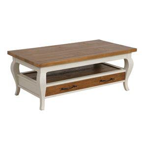 Table basse rectangulaire 2 tiroirs en épicéa massif blanc vieilli - Provence - Visuel n°6