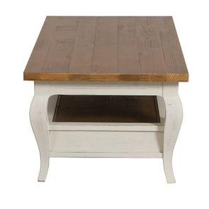 Table basse rectangulaire 2 tiroirs en épicéa massif blanc vieilli - Provence - Visuel n°7