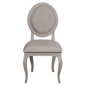Chaise médaillon grise en épicéa massif et tissu - Provence - Visuel n°1