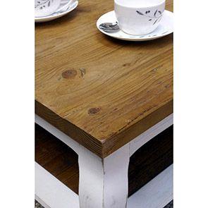 Table basse rectangulaire blanche en épicéa - Provence - Visuel n°3