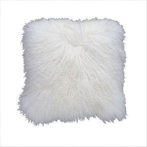 Housse de coussin en fourrure d'agneau tibétain blanche 40x40