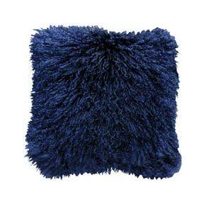 Housse de coussin en fourrure d'agneau tibétain bleue 40x40 - Visuel n°1