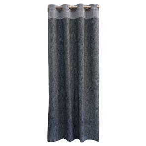 Rideau en coton et lin gris