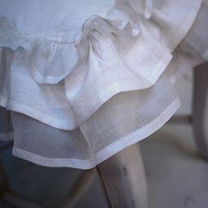 Galettes de chaises blanches en coton et lin 38x38 (lot de 2) - Visuel n°3