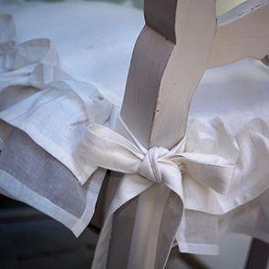 Galettes de chaises blanches en coton et lin 38x38 (lot de 2) - Visuel n°4