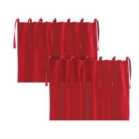 Rideaux en coton et lin rouge (lot de 2)