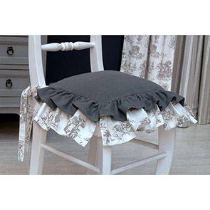 Galettes de chaises blanches et grises en coton et lin 40x40 (lot de 2)