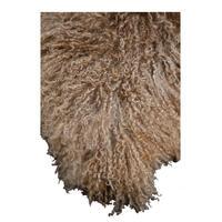 Housse de coussin beige en laine d'agneau du Tibet - Visuel n°3