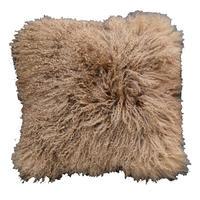 Housse de coussin beige en laine d'agneau du Tibet - Visuel n°1