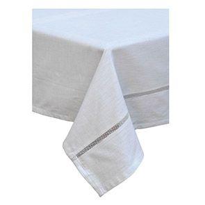 Nappe blanche coton dentelle 170x260