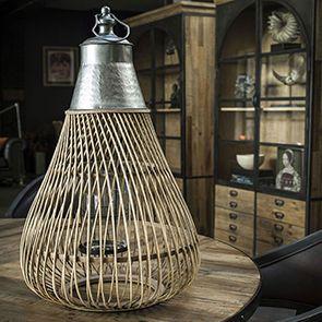 Lanterne XL en bambou et métal martelé h77