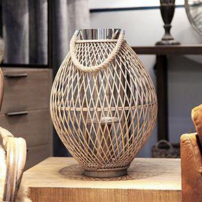 Lanterne en bambou et métal chromé
