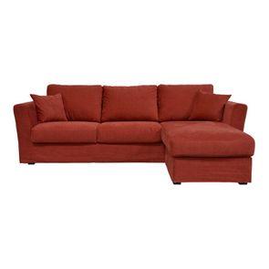 Canapé d'angle 5 places en tissu rouge - Boston