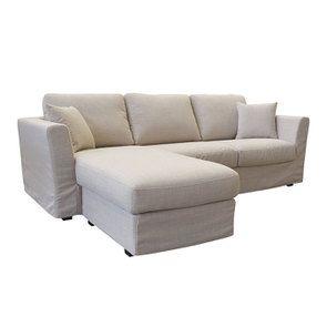 Canapé d'angle 5 places en tissu écru - Boston - Visuel n°2