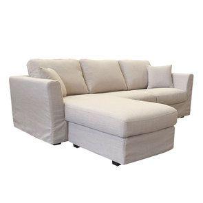 Canapé d'angle 5 places en tissu écru - Boston - Visuel n°3