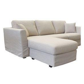 Canapé d'angle 5 places en tissu écru - Boston - Visuel n°4