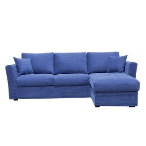 Canapé d'angle 5 places en tissu bleu - Boston - Visuel n°1