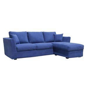 Canapé d'angle 5 places en tissu bleu - Boston - Visuel n°2