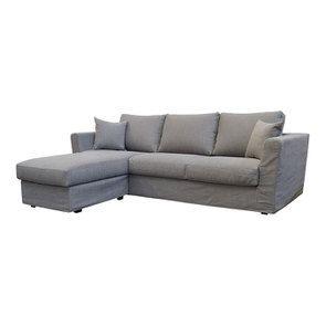 Canapé d'angle 5 places en tissu gris clair - Boston - Visuel n°2