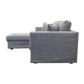 Canapé d'angle 5 places en tissu gris clair - Boston - Visuel n°3