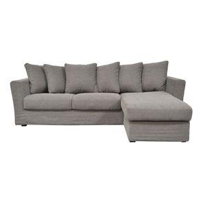 Canapé d'angle 5 places en tissu gris - Boston