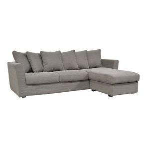 Canapé d'angle 5 places en tissu gris - Boston - Visuel n°2