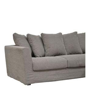 Canapé d'angle 5 places en tissu gris - Boston - Visuel n°3