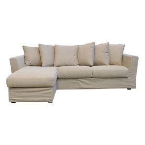 Canapé d'angle 5 places en tissu beige - Boston