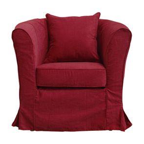 Fauteuil cabriolet en tissu rouge foncé - Bristol - Visuel n°1