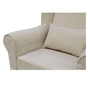 Fauteuil en tissu lin beige - Claridge - Visuel n°8