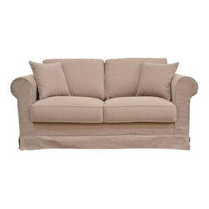 Canapé 2 places en tissu écru - Crowson - Visuel n°1
