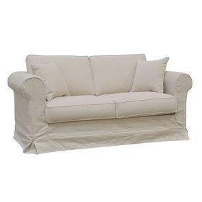 Canapé 2 places en tissu lin beige - Crowson - Visuel n°2