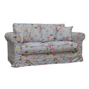 Canapé 2 places en tissu bleu fleuri - Crowson - Visuel n°2
