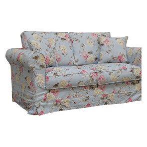 Canapé 2 places en tissu bleu fleuri - Crowson - Visuel n°3