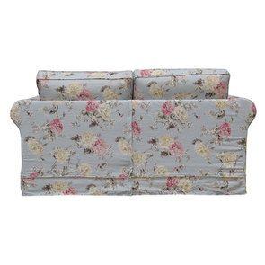 Canapé 2 places en tissu bleu fleuri - Crowson - Visuel n°5