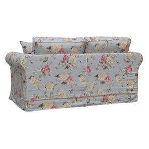 Canapé 2 places en tissu bleu fleuri - Crowson - Visuel n°6