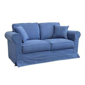 Canapé 2 places en tissu bleu - Crowson - Visuel n°2