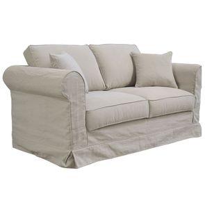 Canapé 2 places en tissu beige - Crowson - Visuel n°6