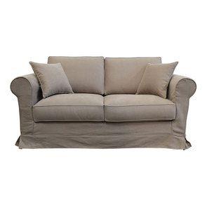 Canapé 2 places en tissu marron clair - Crowson - Visuel n°1